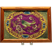 Vintage framed Chinese embroidered bird on silk roundel textile
