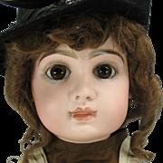 "Tete Jumeau Bebe closed mouth doll size 11 original dress & shoes 24"""
