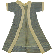 Factory made French Fashion doll house coat or open coat dress blue stripes plain trim