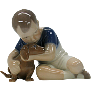 Vintage Bing and Grondahl porcelain boy with Dachshund puppy figure