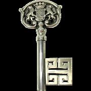 1900's fun figural KEY silvered bronze wine corkscrew