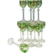 Set 12 antique Green overlay wine glass stems with gilded flower decoration
