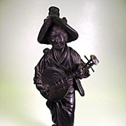 SALE Large signed antique Japanese bronze Woman finely detailed
