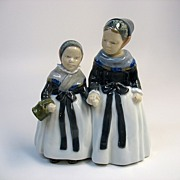 Vintage Royal Copenhagen porcelain double figure 2 girls