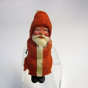 Small vintage German paper mache Santa Claus for a sleigh or cart   C