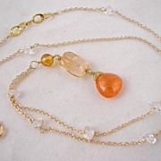 SALE 18k Solid Gold~Herkimer Diamond necklace with mandarin Garnet, Sapphire & Imperial Topaz