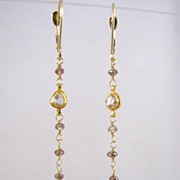 SALE 18k Solid Gold~ Genuine Champagne & Chocolate Diamond Earrings~RR