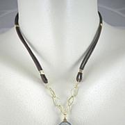 18K Solid Gold~ Rare Purple tourmaline Necklace~