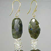 SALE 18K Solid Gold~ Bold Labradorite & White Topaz Earrings~ Stunning!!