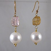 SALE 18k Solid Gold~ AAA 10mm Cultured pearls & Kunzite Earrings