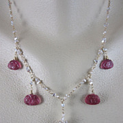 SALE 14K Solid Gold~ AAA Floral carved Rubellite & Keishi Pearl Necklace