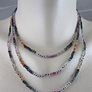 SALE 18K Solid Gold~ Triple-Strand Multi-Sapphire Necklace