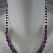 """SALE Solid 18K Gold~ AAA Periwinkle blue Tanzanite & Pink Sapphire """"Cluster"""" necklac"""