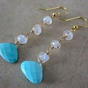 18K/14K Solid Gold~ AAA Sleeping Beauty Turquoise & Moonstone  Earrings ~NEW 2012