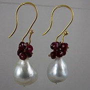 AAA 18K Solid Gold~AAA 14-15mm South Sea Pearl & Ruby Earrings~ gorgeous!