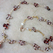 14K Solid Gold~ AAA Shades of Brown Zircon Necklace~ New 2012