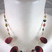 "SALE 14K Solid Gold~ Watermelon Tourmaline ""Queens"" Necklace~2012"