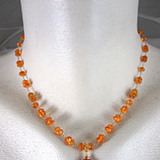 SALE 18K Solid Gold~AAA Mandarin Garnet (spessartite) necklace~ New 2012 only one!