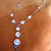 SALE 18K Solid Gold~AAA Ceylon Moonstone & mauve Sapphire Necklace~ stunning!!
