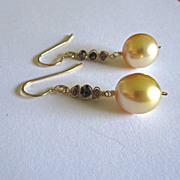 SALE 18K Solid Gold~ AAA Golden South Sea Pearls & Diamond Earrings~one pair only!