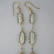 "SALE 18k Solid Gold~ Biwa Pearl & Arizona Turquoise ""Amoeba"" Earrings"