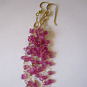 "SALE 18K Solid Gold~AAA+ Pink Sapphire ""Cascade"" Earrings~ 3.5""~only one pair"