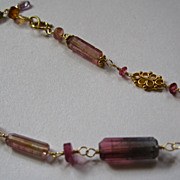 SOLD 18K Solid Gold~ AAA Bi-Color Tourmaline Cylinder Bracelet~ One Only