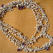 "SOLD 22k Vermeil~ 36"" Seed Pearls & Amethyst Necklace~2014"