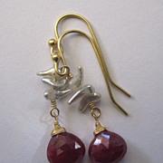 SALE 18K Solid Gold~Red Ruby & Wild Saltwater Keishi Pearl Earrings~2014
