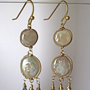 SALE 18K/14K Solid Gold~AAA Coin Pearls & blue Zircon Earrings~ new 2014