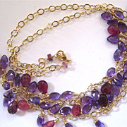 "SALE 14K Solid Gold~ AAA Pink Tourmaline & African Amethyst ""FRINGE"" necklace~2014"