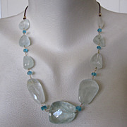 SALE 14K Solid Gold~ AA Aquamarine & Apatite & leather Necklace