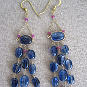 "SALE 18K & 14K Solid Gold~AAA Cobalt Blue Kayanite & Pink Sapphire ""Victoriana"" earr"