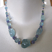 "SALE 14K Solid Gold~ AAA Aquamarine & Tanzanite ""Chunky"" Necklace~ ONE only!"