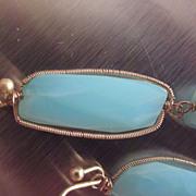 """SALE 14k & 18K Solid Gold~ AAA Blue Peruvian Opal  """"linear"""" Earrings"""