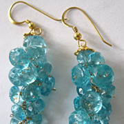 "SALE 18K Solid Gold~ Aqua Blue Apatite ""Bubble"" Earrings~ NEW!"