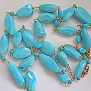 SALE 18K Solid Gold~ AMAZING~ AAA Sleeping Beauty Turquoise  long Necklace~ NEW~ 30""