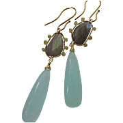 SALE 14K Solid Gold~ AAA Chalcedony , Labradorite & Diamond Earrings