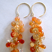 "SALE 14k Solid Gold~AAA Mexican Fire Opal ""cluster'' Earrings ~"