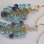 "SALE 14K Solid Gold~Apatite, Iolite, & Keishi Pearl ""cluster"" Earrings"