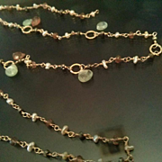 14K Solid Gold~Green Kyanite, Pyrite, keishi pearl and Andelusite