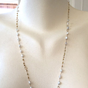 SALE 14K Solid Gold~Raw Diamonds & Keishi Pearls long Flapper necklace~32""