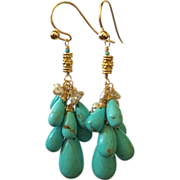 """SOLD 18K Solid Gold~AAA Kingman Turquoise """"cluster"""" Earrings~new!"""