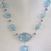SALE 18K Solid Gold ~AAA Aquamarine & Tanzanite Nouveau Necklace~ oh my!!
