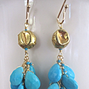 "18K Solid Gold~ AAA Sleeping Beauty Turquoise ""cluster"" Earrings~2015"