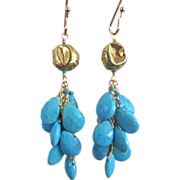 "18K Solid Gold~ AAA Sleeping Beauty Turquoise ""cluster"" Earrings~2015"
