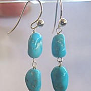 SALE 14K Solid Gold~ AAA Arizona Turquoise Earrings~ one pair only