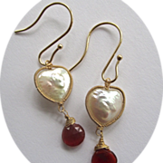 SALE 14K Solid Gold~ Heart-shaped Freshwater pearls & Mexican Fire Opal Earrings~ Happy Valent