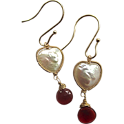 14K Solid Gold~ Heart-shaped Freshwater pearls & Mexican Fire Opal Earrings~ Happy Valentines