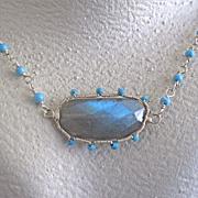 """SALE Sterling Silver~AAA Sleeping beauty & Labradorite """"sunburst"""" set earrings & Nec"""